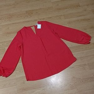 Pleione Coral Blouse, NWT Long Sleeves, Medium